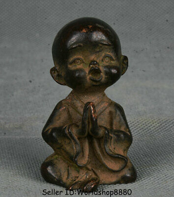 """2.4"""" Old Chinese Buddhism Temple Bronze Buddhist monk Heshang shaveling Statue"""
