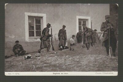 "[74124] Wwi Postcard ""Spies Against The Wall"""