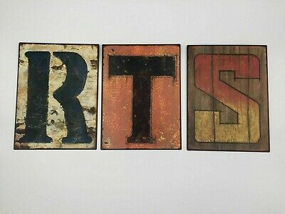 Vintage Letter Initial (R, T & S) Metal Tin Hanging Sign Wall Art Decor