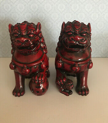 11cm Pair Red RESIN Feng Shui Chinese Fu Dog Foo Dogs Door Guardian Temple Lion