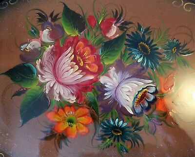 Vintage Hand Painted Russian Metal Tray- 35 X 26cm