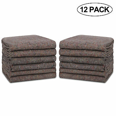 "Moving Blankets 54"" x 72"" Pro Economy  12 Pack  Grey Shipping Furniture Pads"