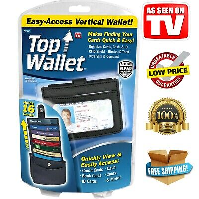 TOP WALLET As Seen On TV Easy-Access Vertical Design RFID Shield Holds 16 Cards