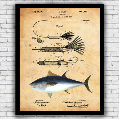Bluefin Tuna Fishing Saltwater Lure Patent Art Print - Size and Frame Options
