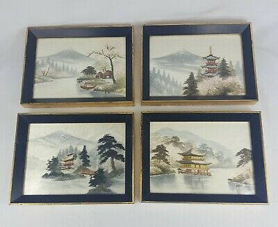 "Japanese Silk Thread Pictures Framed Hand Embroidered Set of 4 10""x7.5"""