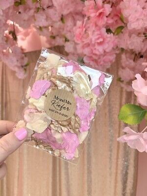 50 Real Petal Wedding Confetti Bags Packets Pink Gold Ivory Biodegradable Petals