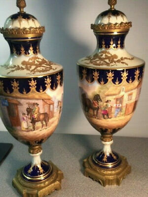 """Large Antique French Sevres  Chateau des Tuilerie 17.5"""" Tall Vase Urns Pair"""