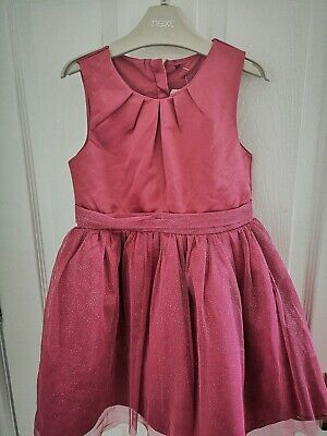 Next Girls Age 5 BRAND NEW Pink Shimmer Layered Party DRESS. Bow party dress.