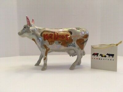 Retired! Cow Parade 2000 HOT DOG COW #9158 New in Box with Tag