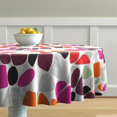 Round Tablecloth Retro Mod Mid Century Modern Vintage Inspired Cotton Sateen