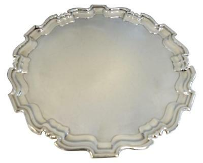 """LARGE ROUND FOOTED ENGLISH STERLING SILVER TRAY / SALVER. 16.75"""" Diameter"""