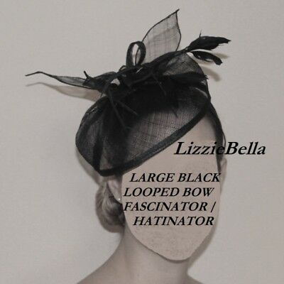 New Large Black Looped Bow Feather Fascinator Hatinator Hat Royal Ascot Wedding