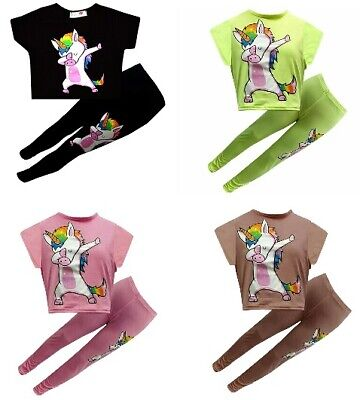 New Girls Kids Unicorn Crop Top Leggings Summer Outfit Set Age 7 8 9 10 11 12 13