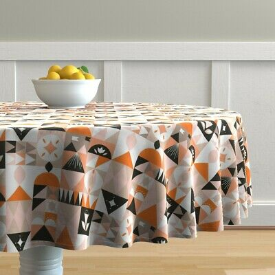Round Tablecloth Mid Century Modern Mod Floral Geometric Retro Cotton Sateen
