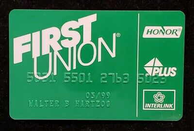 First Union HONOR PLUS INTERLINK credit card exp 1999♡Free Shipping♡cc1242