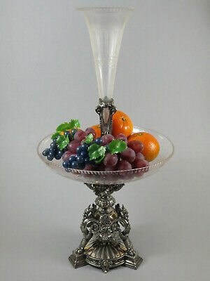 Beautiful Antique C19th Silver Plated Centrepiece Epergne Cut Glass Comport