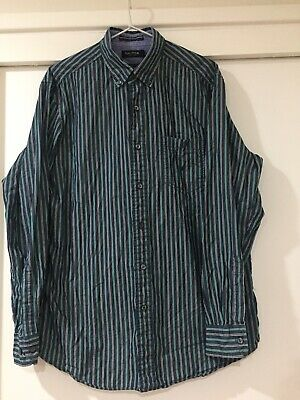 Nautica Mens Navy Blue Striped Button Shirt Size M Classic Fit EUC