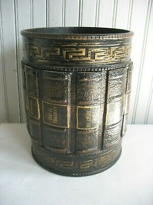 """Vintage Style Faux Book Library Wood Waste Basket 10 1/2"""" by 8 1/4"""""""