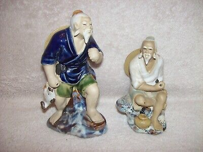 Pair Chinese Mudman Figures Fisherman & Basket Fisherman & Catch