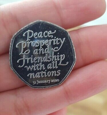 BREXIT NEW 50p Pence january 2020  Peace, Prosperity & Friendship all Nations