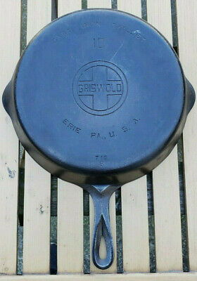 Vtg Griswold 10 Cast Iron Skillet 716 B Large Block Logo Erie Antique Pan HTF PA