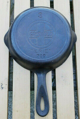 Vtg Griswold 709 Cast Iron Skillet 3 Slant Logo Erie Heat Ring Antique Pan AAFA