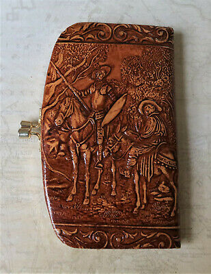 **Vintage Traditional Spanish Hand Tooled Brown Leather Women's Purse