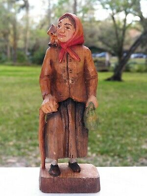 "vtg Italian Wood Folk SCULPTURE ""Old Cat Lady"" Hand-painted 6"""