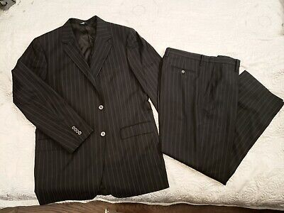 DOLCE GABBANA Mens 2-Piece Suit Black Pinstripe. Size IT 56. Made in Italy.