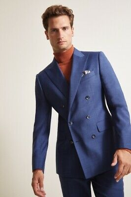 Canali 40R-42R Blue Unvented Blazer/Sport Coat Double-breasted Peak Lapel
