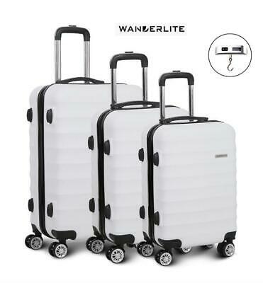 RETURNs Wanderlite Suitcase Luggage Set 3pc Sets TSA Hard Case Lightweight White