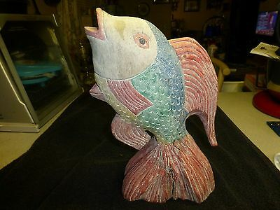 Vintage Hand Carved Wooden Fish,  1 Foot Tall