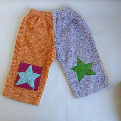 Vintage Kids Cotton Pants Size 2 Purple Orange Pink Blue Green Star Applique