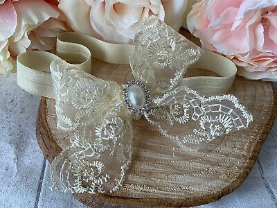 Baby Girl Ivory Cream Bow Christening Headband Baptism Wedding Hairband Photo
