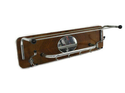 Vintage Wall Coat Rack Shelf Mid Century Modern Railroad Industrial Wood Chrome