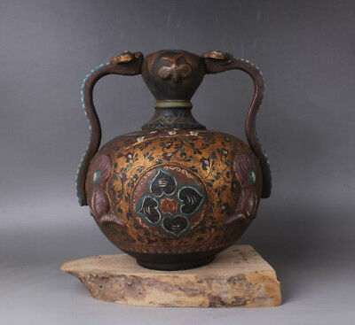 Chinese Antiques Three color Ru yi tank Cylinder pot
