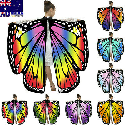 Kids Boys Girls Butterfly Wings Shawl Fashion Cloak Cape Costume Accessory AU