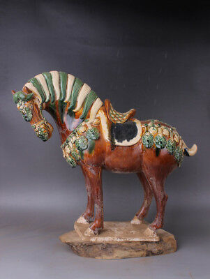 Chinese Antiques Three colors brown horse
