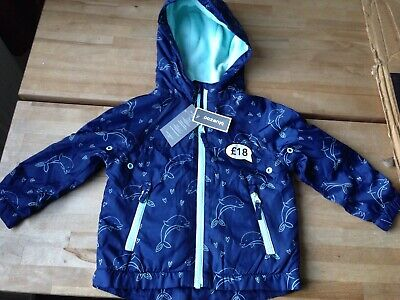 Bluezoo Boys Toddlers Blue Dolphin Print Shower Resistant Jacket 2-3 Years BNWT.