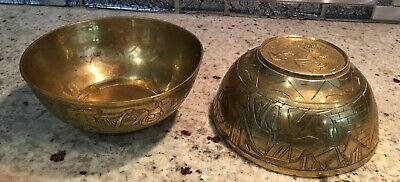 "Pair of 4"" Brass Egyptian Motif Bowls Carved Very Nice Pyramid, Sphinx, Camel"