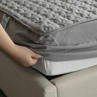 Cover Mattress Waterproof Gray Washable Embossed Protector Soft Anti-mite Topper
