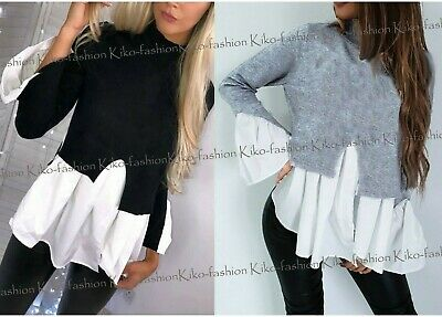 New Womens Ladies Layered 2 in 1 Puff Sleeve Frill Hem Jumper Shirt Top Blouse