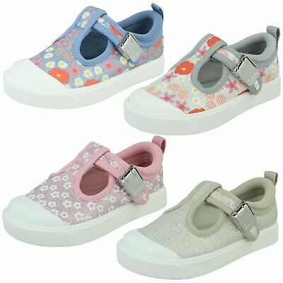 Girls Clarks 'City Dance T' Casual T-Bar Canvas Pumps - F & G Fittings
