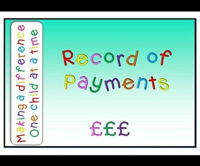 Childminding, Childminder, EYFS- Record Of Payments Book