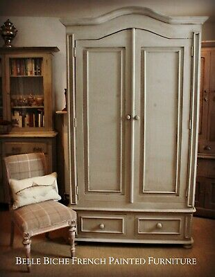 Gustavian Grey Large Bonnet Top Armoire