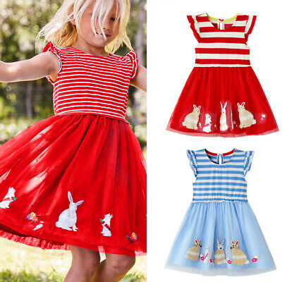 Cute Children Kids Baby Girls Rabbit Princess Striped Tulle Dress Easter Outfit