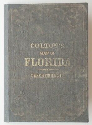 Original 1872 COLTON Pocket Map FLORIDA Indian Hunting Grounds Forts Canals RRs