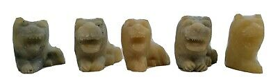 """LOT OF 5 VINTAGE CHINESE HAND CARVED SOAPSTONE FOO DOGS LION FENG SHUI 1.5"""" x 2"""""""
