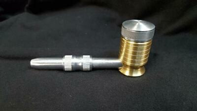 Metal Tobacco Smoking Pipe Solid Brass Bowl Aluminum Cap & Stem MADE IN USA