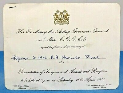 Invitation Sierra Leone Acting Governor General Insignia Awards 1971 Freetown
